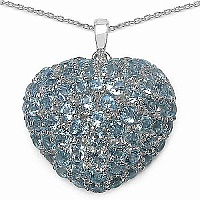 7.00CTW Genuine Blue Topaz .925 Sterling Silver Heart Shape