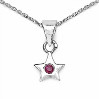 0.06CTW Genuine Ruby Solitaire .925 Sterling Silver Pendant