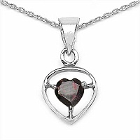 0.50CTW Genuine Heart-Shaped Garnet .925 Sterling Silver Pen