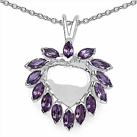 2.10CTW Genuine Amethysts .925 Sterling Silver Pendant