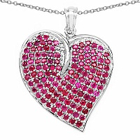 5.01CTW Genuine Ruby .925 Sterling Silver Heart Shape Pendan