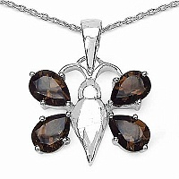 2.60CTW Genuine Smoky Topaz .925 Sterling Silver Butterfly S