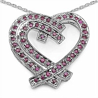 1.05CTW Genuine Ruby .925 Sterling Silver Heart Shape Pendan