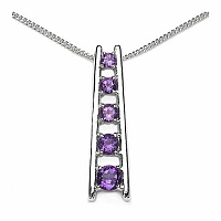 0.60CTW Genuine Amethyst .925 Sterling Silver Pendant