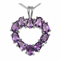 4.30CTW Genuine Amethyst .925 Sterling Silver Pendant