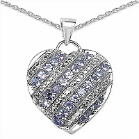 1.30CTW Genuine Tanzanite .925 Sterling Silver Heart Pendant