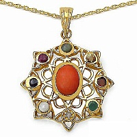 Shraddha 1.62CTW Navratna 14K Yellow Gold Plated Brass Pendant