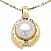 2.64CTW Pearl & Zircon Gold Plated .925 Sterling Silver Pendant