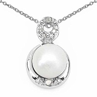 2.06CTW Genuine Pearl & White Cubic Zirconia .925 Sterling S