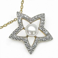 1.06CTW White Pearl & Cubic Zirconia .925 Sterling Silver Pe