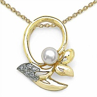 0.51CTW Pearl & Cubic Zirconia Gold Plated .925 Sterling Sil