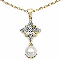 2.68CTW Pearl & Cubic Zirconia Gold Plated .925 Sterling Silver