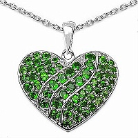 2.86CTW Genuine Chrome Diopside .925 Sterling Silver Heart P