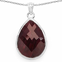 26.50CTW Genuine Dyed Ruby .925 Sterling Silver Pear Shape P