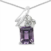 5.75CTW Genuine Amethyst & White Topaz .925 Sterling Silver Pen