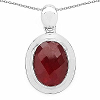 9.86CTW Genuine Dyed Ruby .925 Sterling Silver Oval Shape Pe