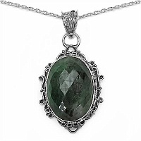30.15CTW Genuine Emerald .925 Sterling Silver Pendant
