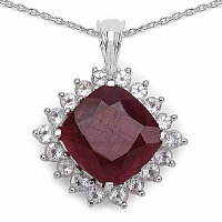 8.69CTW Genuine Dyed Ruby & White Topaz .925 Sterling Silver