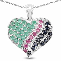 3.02CTW Genuine Emerald, Ruby & Blue Sapphire .925 Sterling Sil