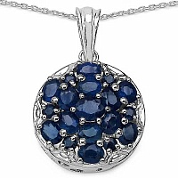 3.80CTW Genuine Blue Sapphire .925 Sterling Silver Pendant