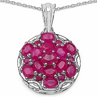 3.80CTW Genuine Ruby .925 Sterling Silver Pendant