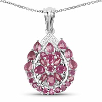 3.81CTW Genuine Ruby & White Cubic Zircon .925 Sterling Silver