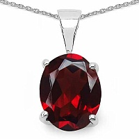 2.50CTW Genuine Garnet .925 Sterling Silver Oval Shape Penda