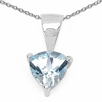 0.80CTW Genuine Blue Topaz .925 Sterling Silver Pendant