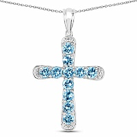 3.85CTW Genuine Swiss Blue Topaz .925 Sterling Silver Cross Sha