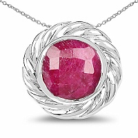 6.31CTW Dyed Ruby .925 Sterling Silver Pendant