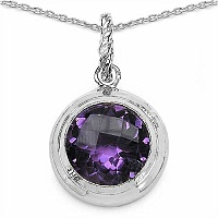 8.67CTW Genuine Amethyst .925 Sterling Silver Pendant