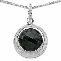 8.39CTW Genuine Black Onyx .925 Sterling Silver Pendant