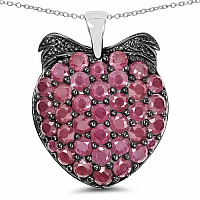4.86CTW Genuine Ruby .925 Sterling Silver Pendant