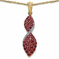 1.70CTW Genuine Ruby .925 Sterling Silver 14K Yellow Gold Pl