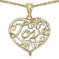 Heart Shape Love 14K Yellow Gold Plated .925 Sterling Silver Pe