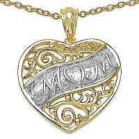 Heart Shape Mom 14K Yellow Gold Plated .925 Sterling Silver Pen