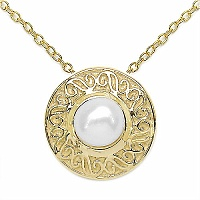 0.64CTW Genuine Pearl .925 Sterling Silver Gold Plating Pendant