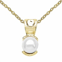 1.50CTW Genuine Pearl .925 Sterling Silver Gold Plating Pendant