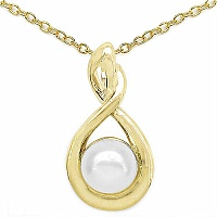 1.16CTW Genuine Pearl .925 Sterling Silver Gold Plating Pendant