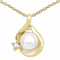 0.68CTW Genuine Pearl & White Cubic Zircon .925 Sterling Silver