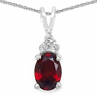 1.12CTW Genuine Garnet & White Cubic Zirconia .925 Sterling