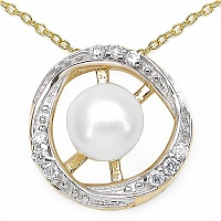 1.25CTW Genuine Pearl & White Cubic Zircon .925 Sterling Silver