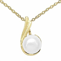 1.97CTW Genuine Pearl .925 Sterling Silver Gold Plating Pendant