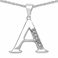 0.10CTW Genuine White Cubic Zircon Alphabet Letter A .925 Sterl