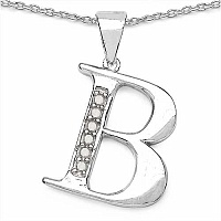 0.06CTW Genuine White Diamond Alphabet Letter B .925 Sterlin