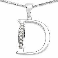 0.06CTW Genuine White Diamond Alphabet Letter D .925 Sterling S
