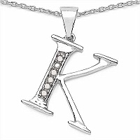 0.06CTW Genuine White Diamond Alphabet Letter K .925 Sterlin