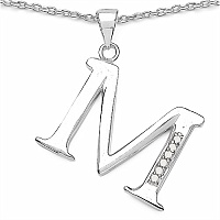 0.06CTW Genuine White Diamond Alphabet Letter M .925 Sterling S
