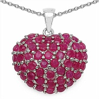 6.12CTW Genuine Ruby .925 Sterling Silver Heart Shape Pendant