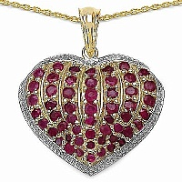 2.72CTW Genuine Ruby 14K Yellow Gold Plated .925 Sterling Si